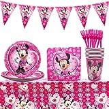 Set de Fiesta de Cumpleaños de Minnie, Party Vajilla 42 Piezas Minnie Artículos de Fiesta Party Vajilla Platos Tazas Servilletas Mantel, Decoraciones Suministros Fiestas Regalos Tema