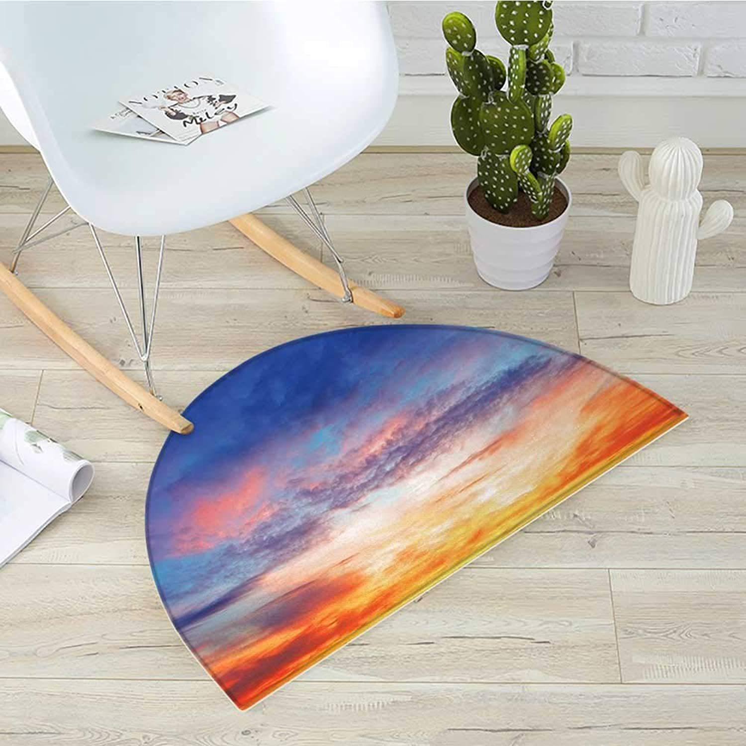 Landscape Semicircular Cushioncolorful Vivid Illuminated Evening Sky During Sunset Cloudscape Scenic View Entry Door Mat H 39.3  xD 59  orange bluee