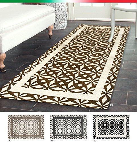 Like 3 Tapis, motifs géométriques, pour chambre, salon, descente de lit, style moderne, en tissu chenille, base antidérapante, 5tailles 66x100 cm marron