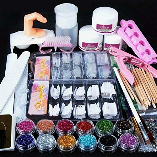 Waymeduo Nail Manucure Set Acrylique Liquide Glitter Poudre Nail Tips Brush Art Tool
