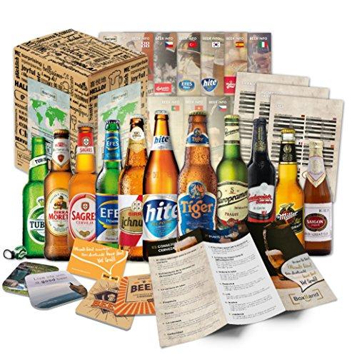 'CERVEZAS DEL MUNDO' Original caja de regalo con las 12 mejores cervezas del mundo - El mejor detalle para un amigo, novio, hermano, padre o abuelo
