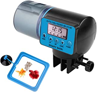 Automatic Fish Feeder, Auto Timer Fishes Feeder with Clock Display, 360 Degree Rotation Base Design, Adjustable 4-Speed and Manual Mode, Vacation& Weekend Fish Food Dispenser for Aquarium or Fish Tank