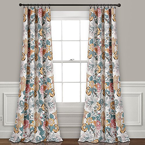"Lush Decor Sydney Curtains | Floral Garden Room Darkening Window Panel Set for Living, Dining, Bedroom (Pair), 84"" x 52"", Blue and Yellow, L, Blue & Yellow"