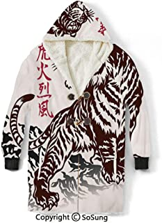 Tattoo Blanket Sweatshirt,Wild Chinese Tiger with Stripes and Roaring while its Paws on Rock Asian Pattern Decorative Wearable Sherpa Hoodie,Warm,Soft,Cozy,XL,for Adults Men Women Teens Friends,Brown