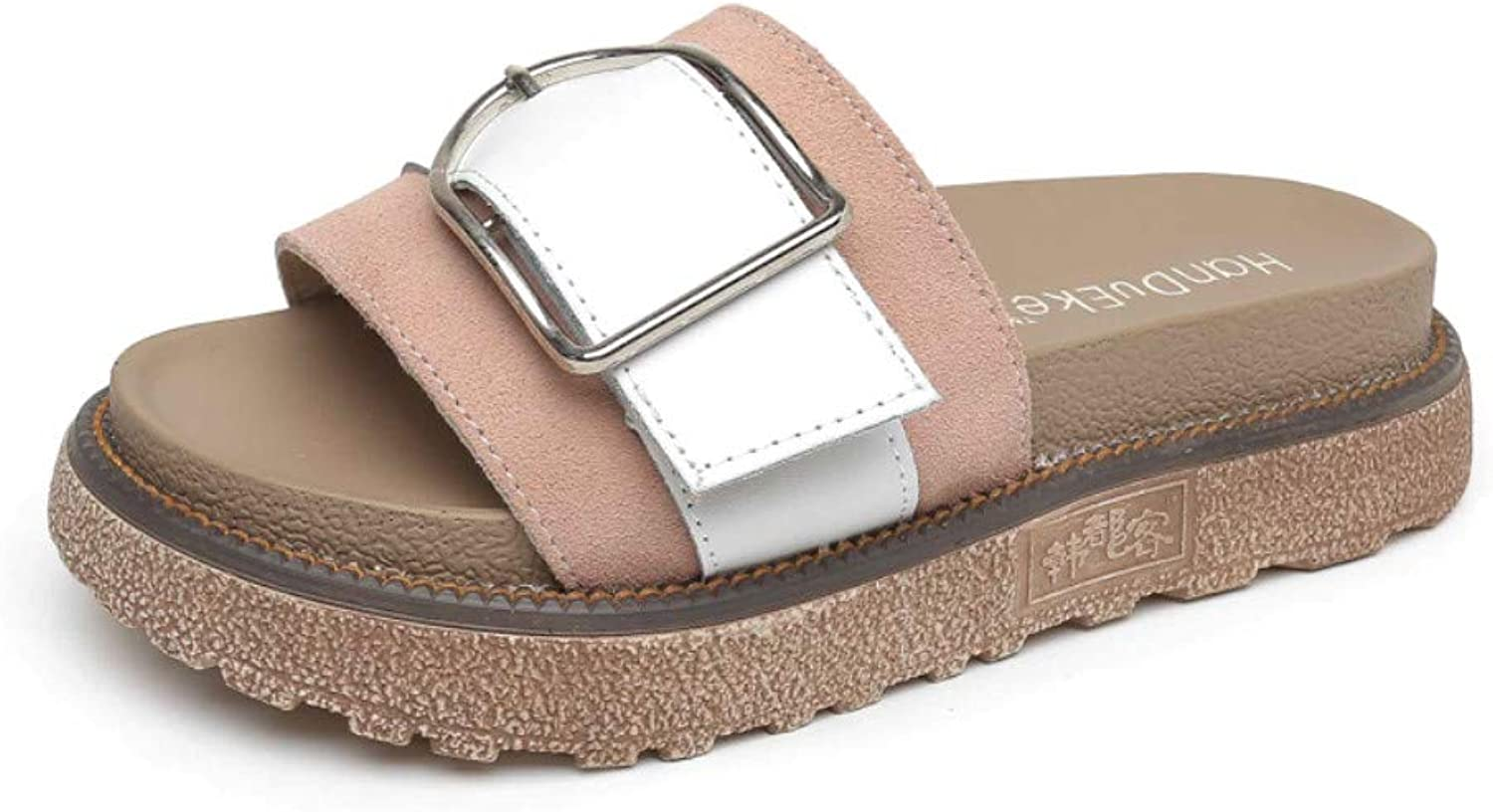 Women's Slippers, Microfiber Summer Fashion Sandal, Creepers Gladiator Platform with Matte Metal Buckle