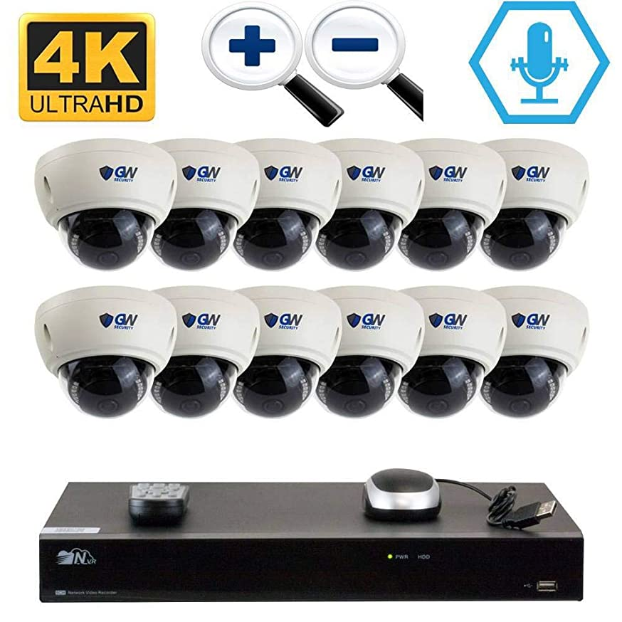 GW 16CH H.265 PoE NVR Ultra-HD 4K (3840x2160) Video & Audio Security Camera System with 12 x 4K (8MP) Microphone 3X Motorized Zoom IP Dome Camera, 100ft Night Vision, 4TB HDD