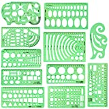 Arroyner 11 Pieces Drawings Templates Geometry Rulers Plastic Shape Templates for Drawing Engineering, Building, School and Office