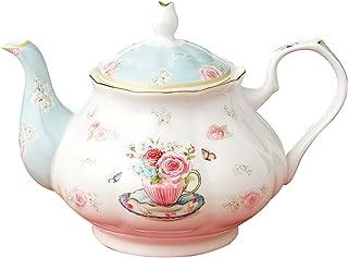 Jusalpha Royal Floral Fine Bone China Rose Vintage Teapot (B)
