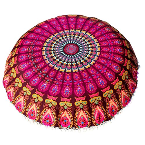 BING Gong grandes Mandala–Cojín de suelo redondo Bohemian Meditación Cojín Funda otomana taburete almohada Imprimir decorativa Funda de cojín en varios Patrón, poliéster, c, 80 * 80cm