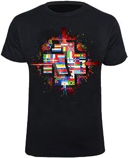 Rammstein Herren T-Shirt Flaggen Offizielles Band Merchandise Fan Shirt schwarz mit mehrfarbigem Front Print