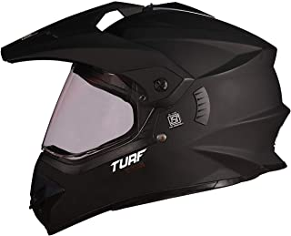 Steelbird Off Road TURF Motocross Helmet Men (Large 600 MM, Matt Black Aerodynamic Helmet for Man Adventure Off-Roading MT Helmet)