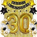Kit de decoración de fiesta de cumpleaños de color negro, dorado, de 40 pulgadas, de papel de confeti, globos de color negro, dorado y blanco, con borlas, con flecos metálicos, número 7
