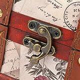 Caja de almacenamiento de madera que ahorra espacio Joyero retro Cofre del tesoro Abierto flexible para habitación de niños Estudio Dormitorio, etc.con bisagra de aleación(Stamp trumpet, blue)