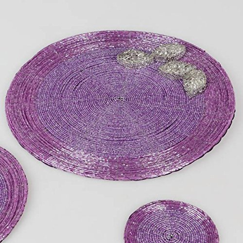 formano Platzset Tischsets Untersetzer PERLEN Flieder pink D. 30cm rund WA