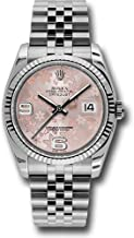 Rolex Oyster Perpetual Datejust 36mm Stainless Steel Case, 18K White Gold Fluted Bezel, Pink Floral Dial, Arabic Numeral and Jubilee Bracelet.