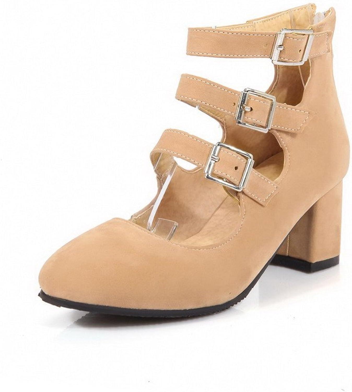 AmoonyFashion Women's Zipper Kitten Heels Imitated Suede Solid Closed Toe Sandals