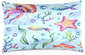 AngelCitya Hand Drawn Watercolor Marine Jellyfish Starfish Polyester Pillow Case,Cover with Zipper Pillowcase Twice Sides Printing Size 20x30 Inch,for Bedroom Living Room