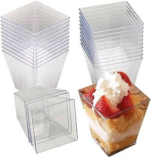 4 Oz Tall Square Clear Plastic Dessert Tumbler Cups - 40 Pack
