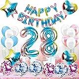 Kit de décoration d'anniversaire 28 ans pour femme, homme, arc-en-ciel, 28 ans, décoration d'anniversaire pour femme, 28 ballons avec guirlande Happy Birthday pour Gender Reveal