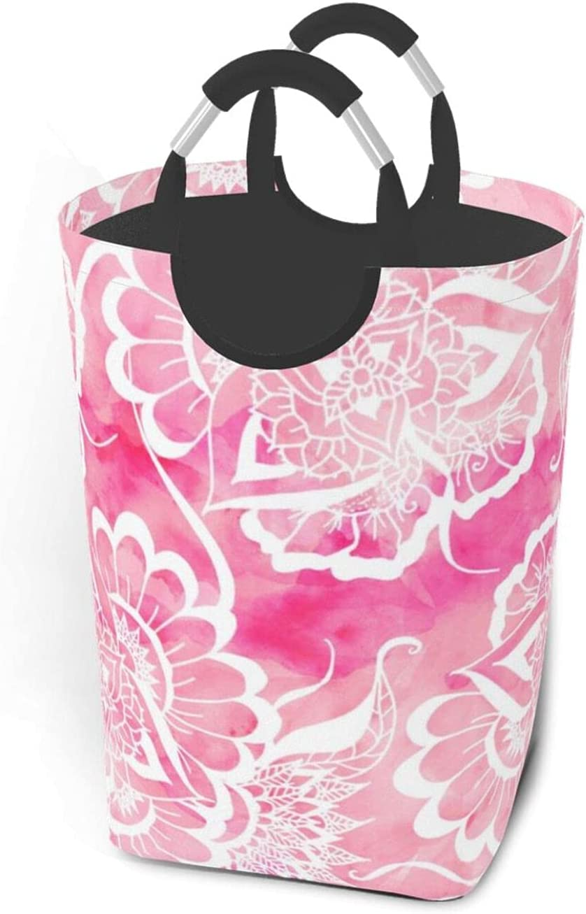 Large Washington Mall Very popular Laundry Basket Modern Boho White Ma Pink Watercolor Floral