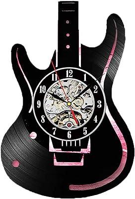 OUJIE Disco De Vinilo Reloj Pared,Led Guitarra Instrumento Musical ...