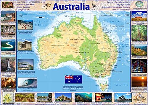 Karte von Australien (in englischer Sprache) – Papier, laminiert A0 farblos