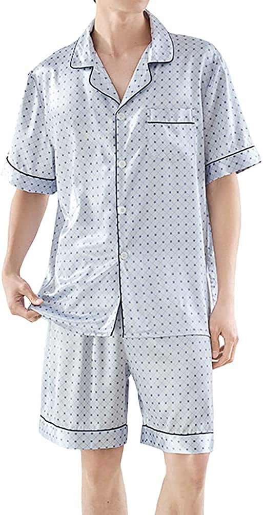 HAORUN Men Satin Summer Pajamas Set Regular Fit Smooth Nightwear Sleepwear Short Sleeve