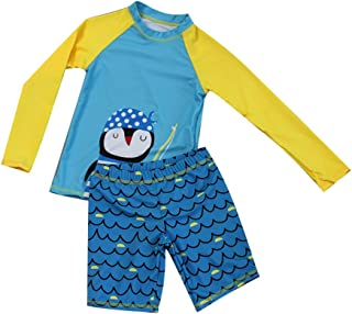 HZYBABY Little Boys Girls Two Piece Rash Guard Swimsuit Kids Long Sleeve Penguin Bathing Suit with UPF 50