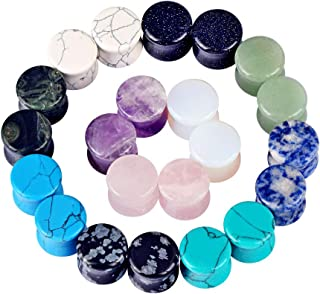 22pcs Stone Ear Gauges Flesh Tunnels Plugs Stretchers Expander Double Flared 2g-5/8