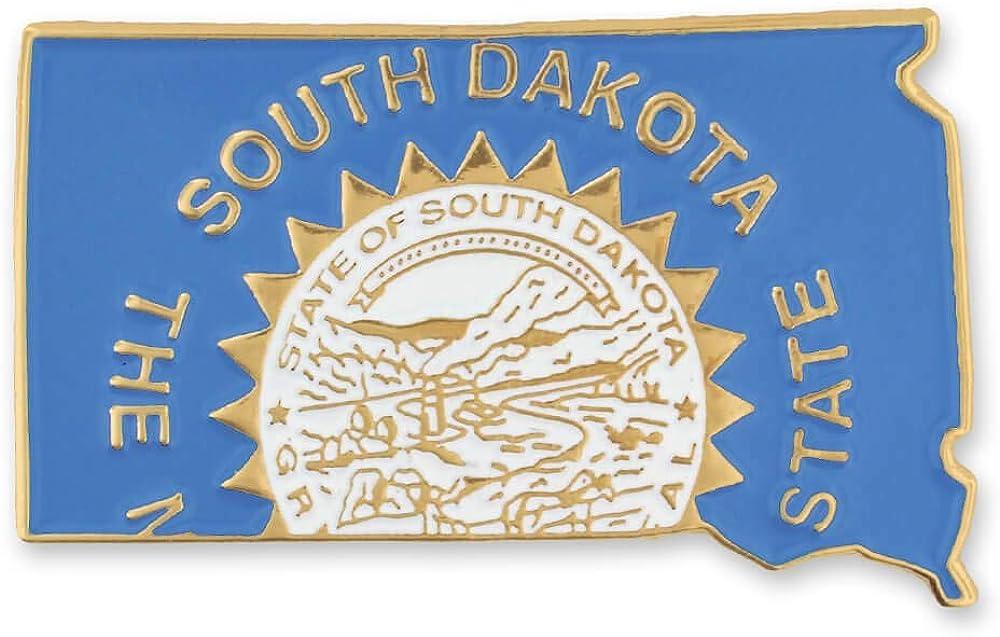PinMart State Shape of South Dakota and South Dakota Flag Lapel Pin