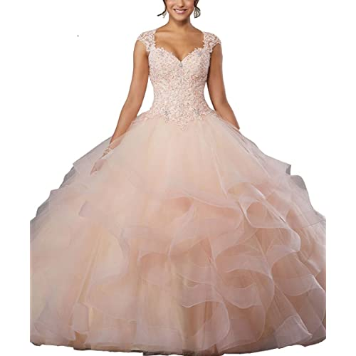 e270a71805e LastBridal Women Sweetheart Crystal Beading Sleeveless Lace Up Ball Gown  Quinceanera Dresses LB0005