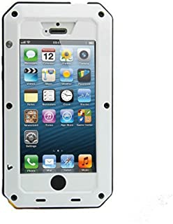iPhone 5C Case,Mangix Water Resistant Shockproof Aluminum Metal [Outter] Super Anti Shake Silicone [Inner] Fully Body Protection with Gorilla Glass Screen for Apple iPhone 5C (White)