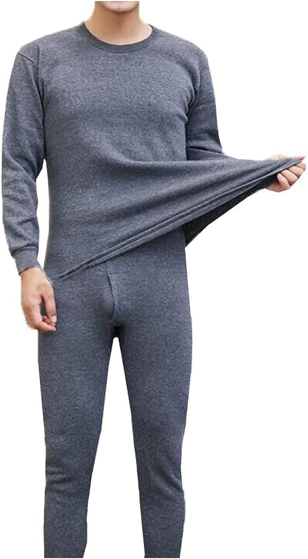 Men's Winter Thermal Suit Circular Collar Pure Color Cashmere Underwear Set