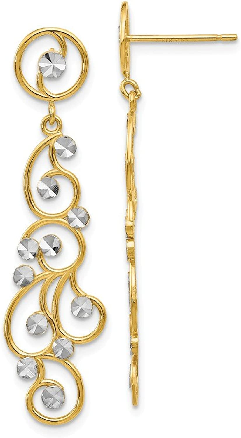 Beautiful rhodium plated gold and silver 14K rhodiumplatedgoldandsilver 14k and Rhodium Filigree Dangle Earrings