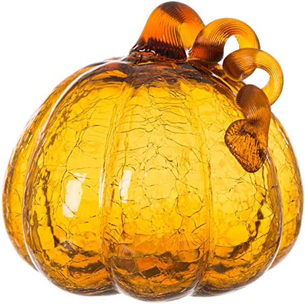 Glitzhome 6 69 Inch Amber Hand Blown Ornaments Crackle Glass Pumpkin For Fall Thanksgiving Halloween And Home Decor