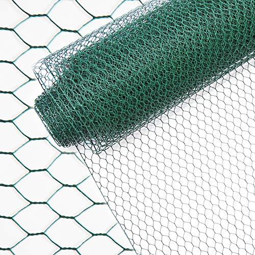 INDUTEC Sechseckgeflecht Drahtzaun Drahtgeflecht Gartenzaun Hasendraht - grün - MW: 13 mm | H: 50 cm | L: 10 m Rolle