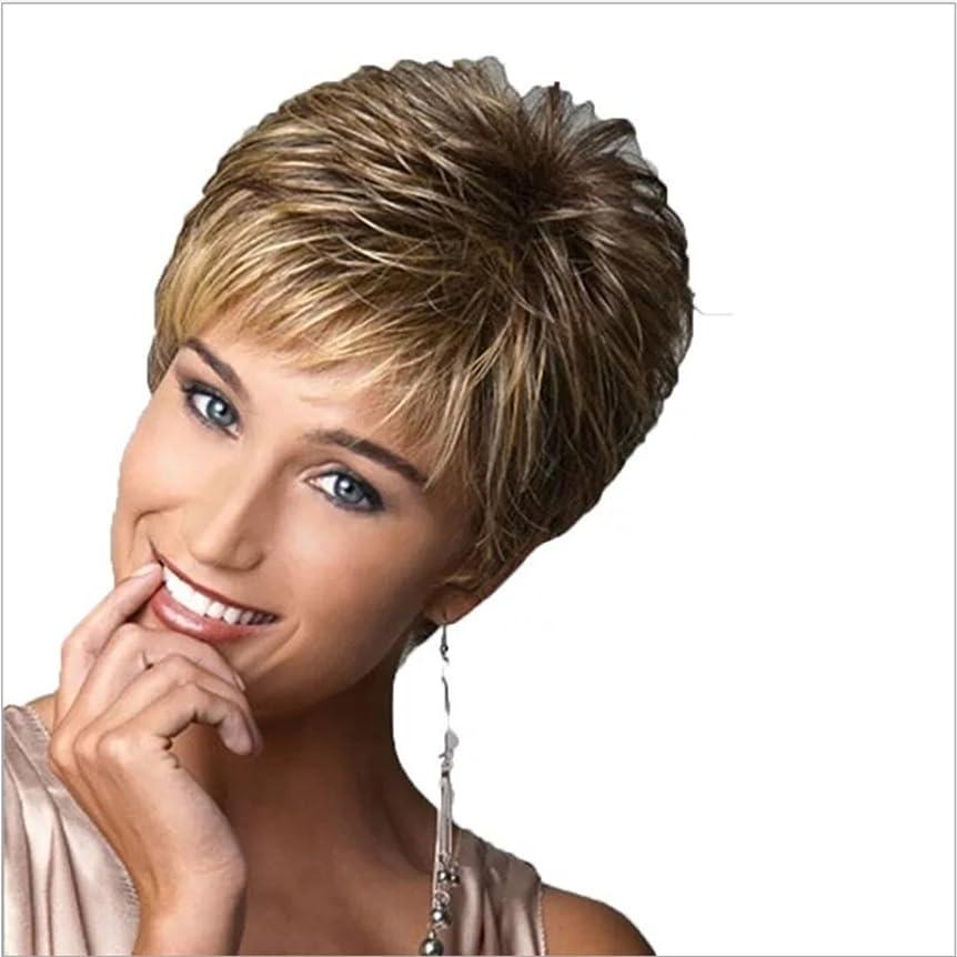 兄スツール粘液JIANFU ふわふわショートウィッグ女性のためのカーリーヘアハイヒールヘアはフラットバンズウィッグと一緒に着用することができますショートカールウィッグパーティーを見て (Color : Light brown silver white highlight)