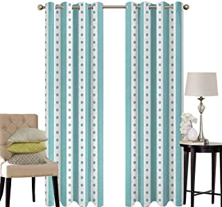 hengshu Turquoise Pattern Curtains Blackout Dots Rounds and Stipes with Thick Borders Vintage Retro Textured Image Bedroom Decor Living Room Decor W52 x L45 Inch Mint Green and White