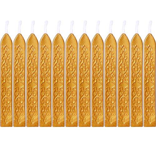 12 Piezas de Barras de Cera de Sello con Mechas Cera de Sellado de Manuscrito de Fuego Antiguo para Sello de Cera (Color Dorado)