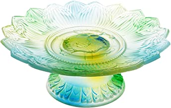 Generic Glass Tray Buddhism Worship Offering Pedestal Ornament for Buddha Altar 9''