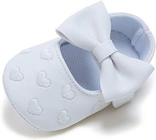 MolySun新生児の女の子カジュアルハート刺繍のちょう結び0-12ヶ月幼児靴幼児靴靴ソフト底滑り止め靴