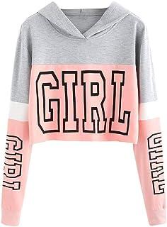 Sudaderas Adolescentes Chicas, Sudaderas Mujer Tumblr con Capucha - Emoticon Estampado Blusa Tops Camiseta de Manga Larga ...