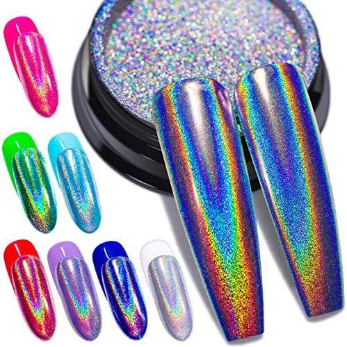 Holographic Nail Powder Fine Rainbow Holo Unicorn Mirror Laser Effect Multi Chrome Manicure product image