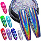 Holographic Nail Powder Fine Rainbow Holo Unicorn Mirror Laser Effect Multi Chrome Manicure Pigment Glitter Dust for Salon Home Nail Art DIY Deco, 0.04oz/1g, Sponge Tool/3pcs