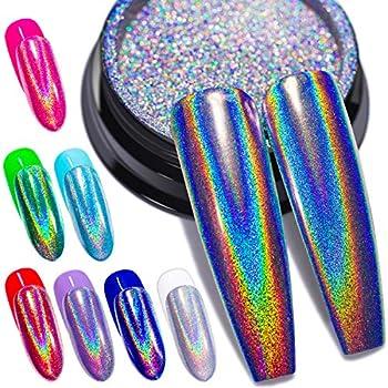 Holographic Nail Powder Fine Rainbow Holo Unicorn Mirror Laser Effect Multi Chrome Manicure Pigment Glitter Dust for Salon Home Nail Art DIY Deco 0.04oz/1g Sponge Tool/3pcs
