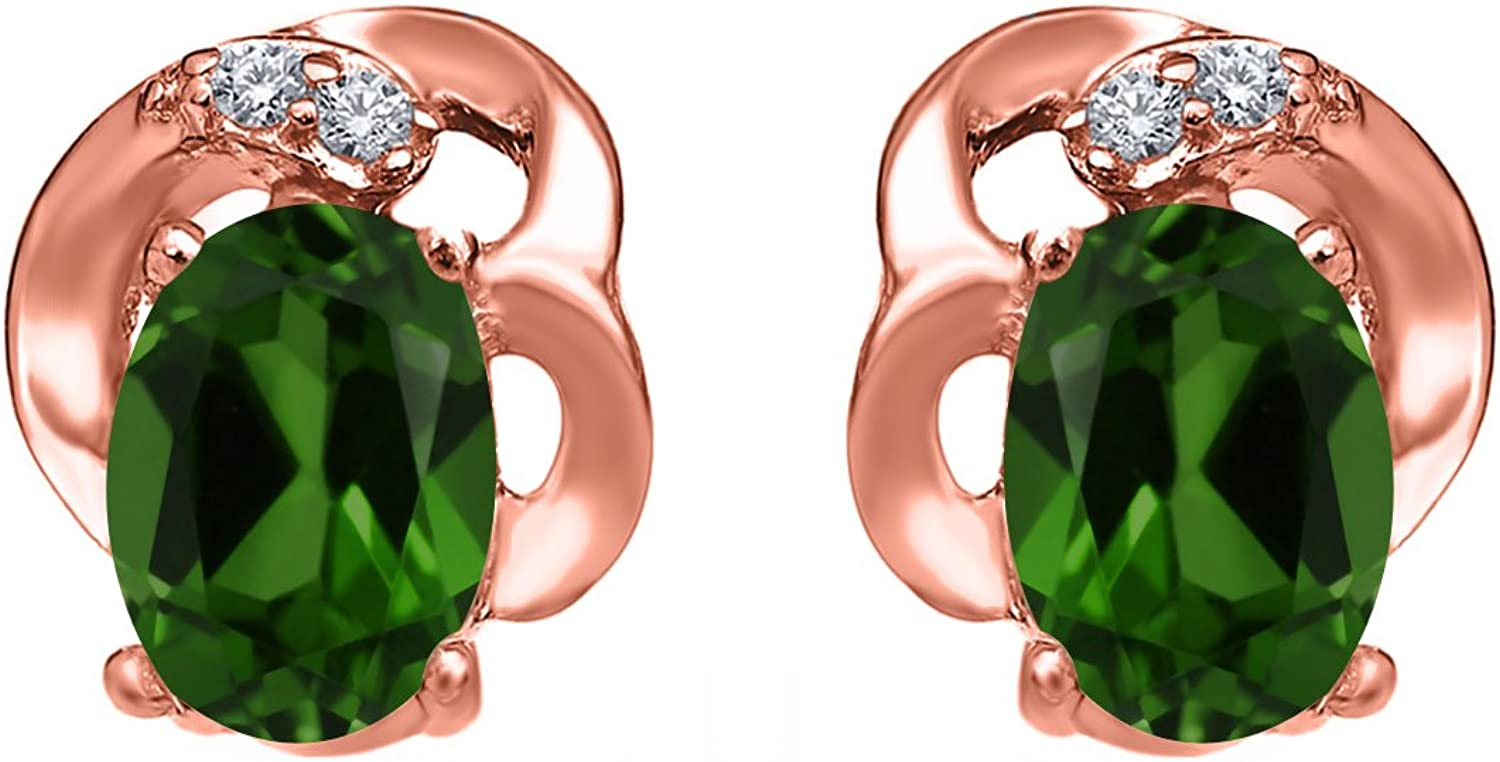 0.95 Ct Oval Green Chrome Diopside 18K pink gold Plated Silver Earrings