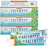 Auromere Ayurvedic Herbal Toothpaste, Classic Licorice Flavour - Vegan, Natural, Non GMO, Fluoride Free, Gluten Free, with Neem & Peelu (4.16 oz), 3 Pack