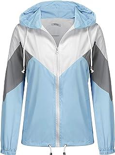 SoTeer Women's Waterproof Rain Jacket Lightweight Hooded Windbreaker Packable Active Outdoor Raincoat S-XXXL