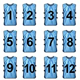 TopTie Sets of 12 (#1-12, 13-24) Numbered / Blank Training Vest, Soccer Pinnies-LightBlue (#1 to 12)-XL