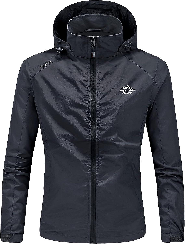 Men's Waterproof Coat Outdoor Solid Hooded Long Sleeve Zipper Pocket Windbreaker